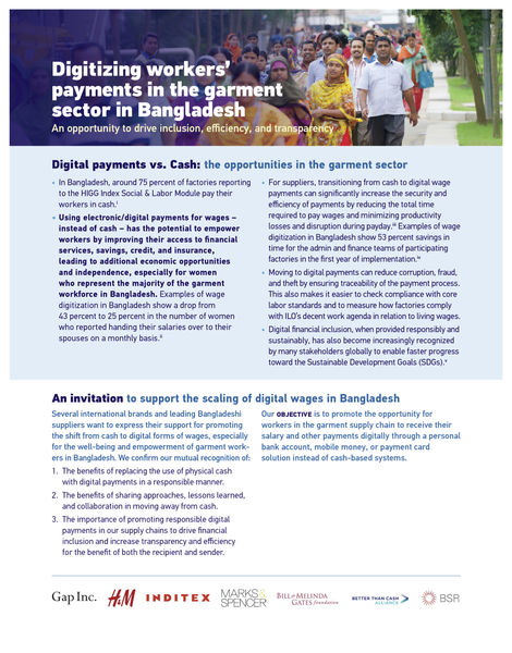 Digitizing workers' payments in the garment sector in Bangladesh - cover page
