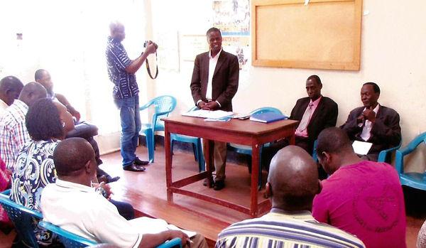 Godfrey Mayambala explaining the Nokia Farming Model to local stakeholders at ZAABTA Training Center in Luweero, Uganda.