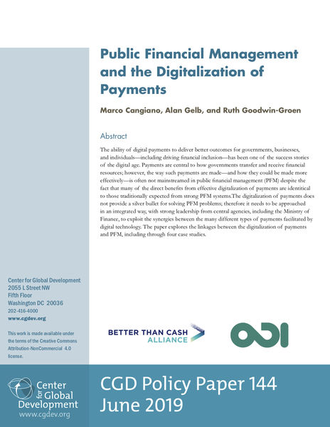 Public Financial Management and the Digitalization of Payments REPORT COVER
